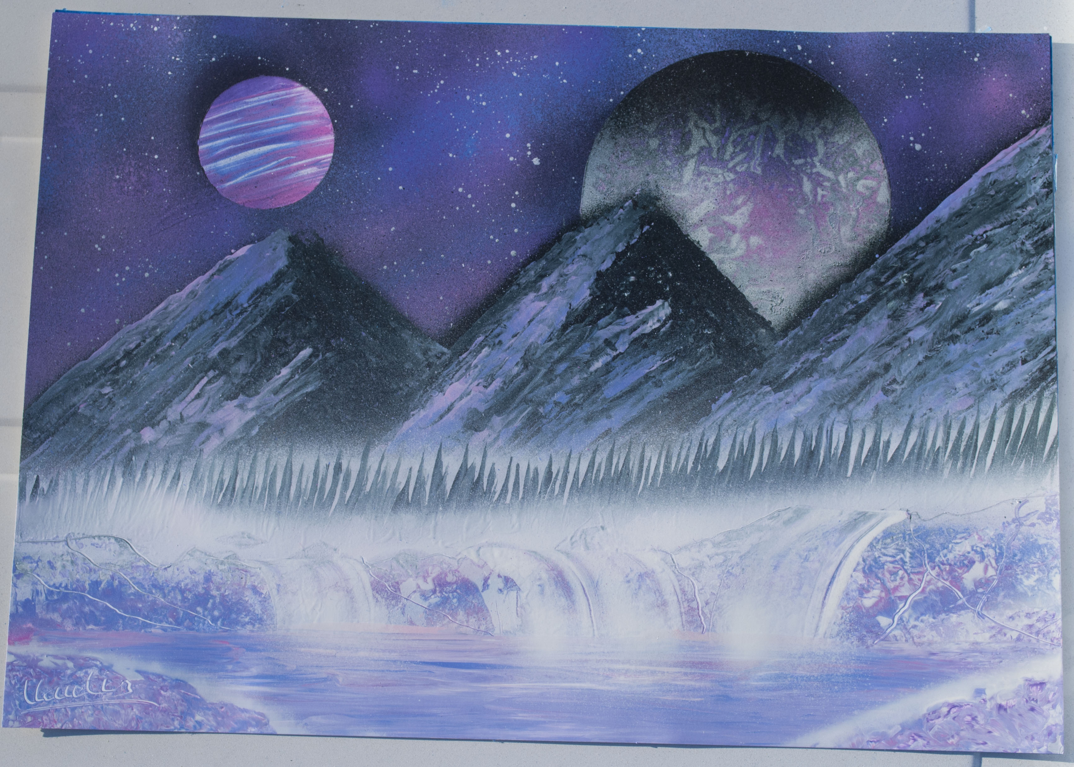 Purple landscape spray paint art by Ucuetis