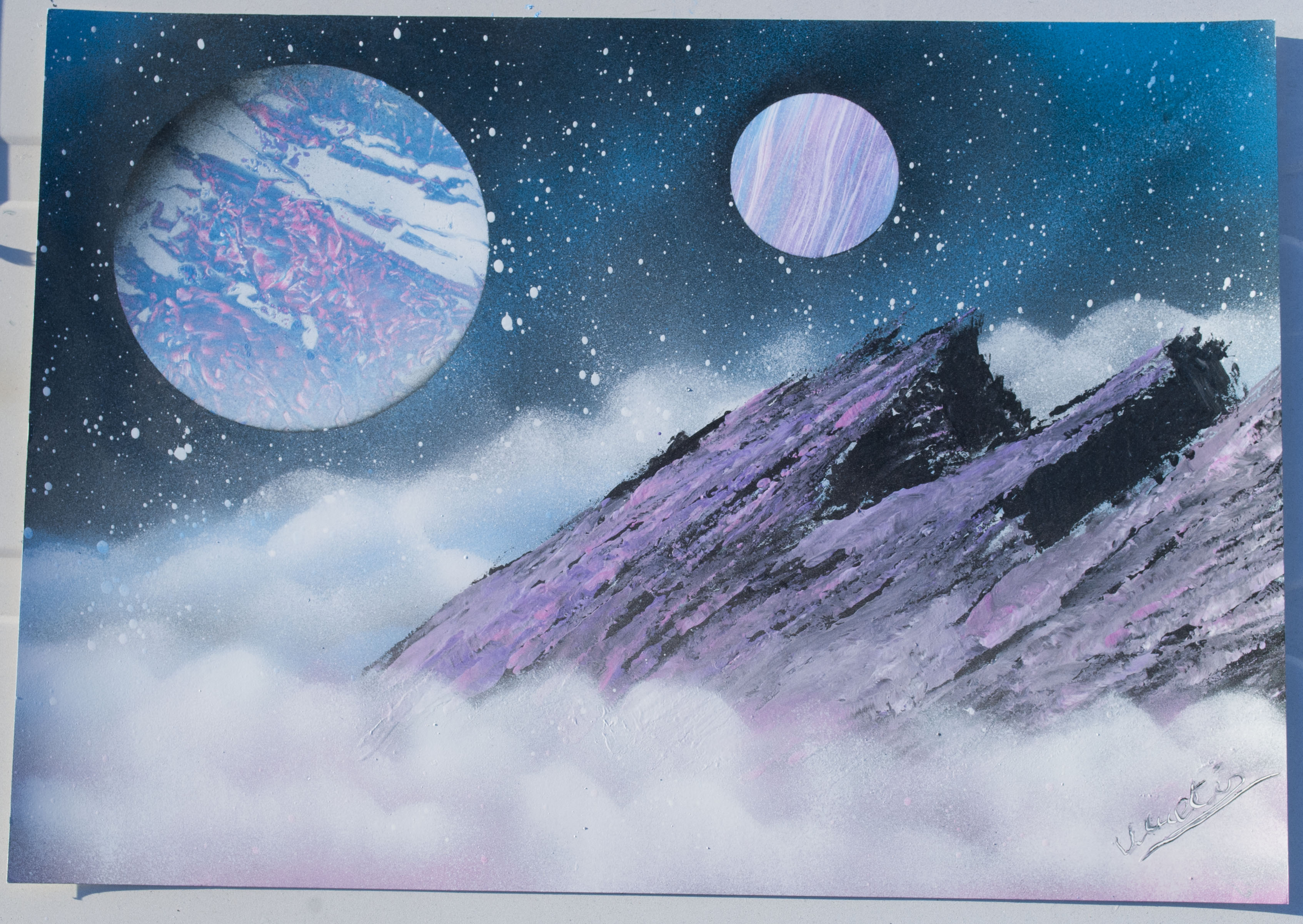 Cloud mountain spray paint art by ucuetis