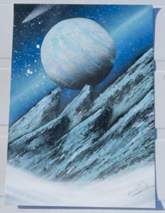 Steep blue mountain spray paint art by ucuetis
