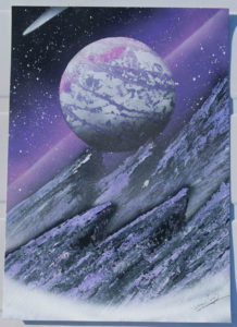 Steep purple mountain spray paint art by ucuetis