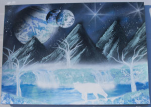 Landscape and wolf spray paint art by Ucuetis