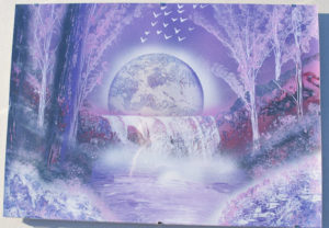 Purple waterfall spray paint art by Ucuetis