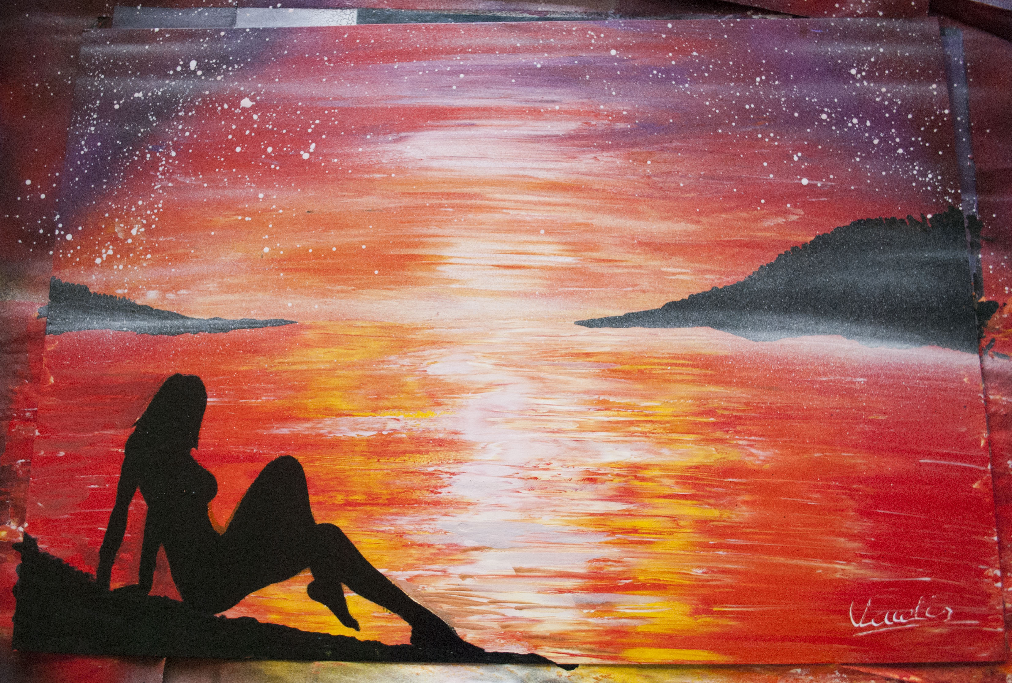 Sunset Beach spray paint art by Ucuetis