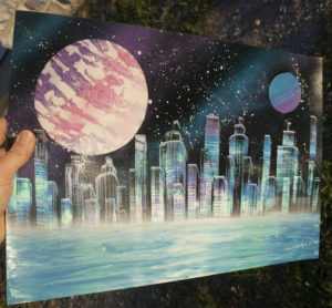 Futurist city  Spray paint art by ucuetis