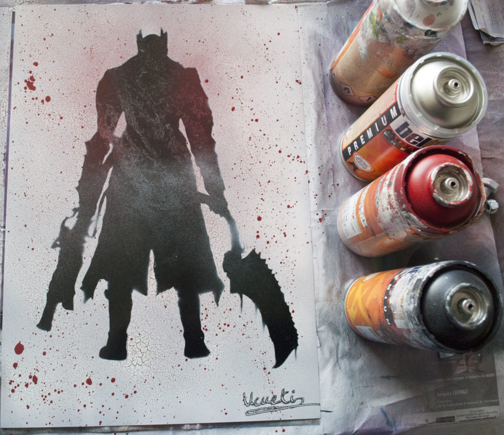 Bloodborne spray paint art by Ucuetis