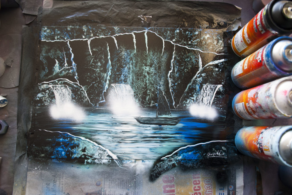 The cave spray paint art by Ucuetis