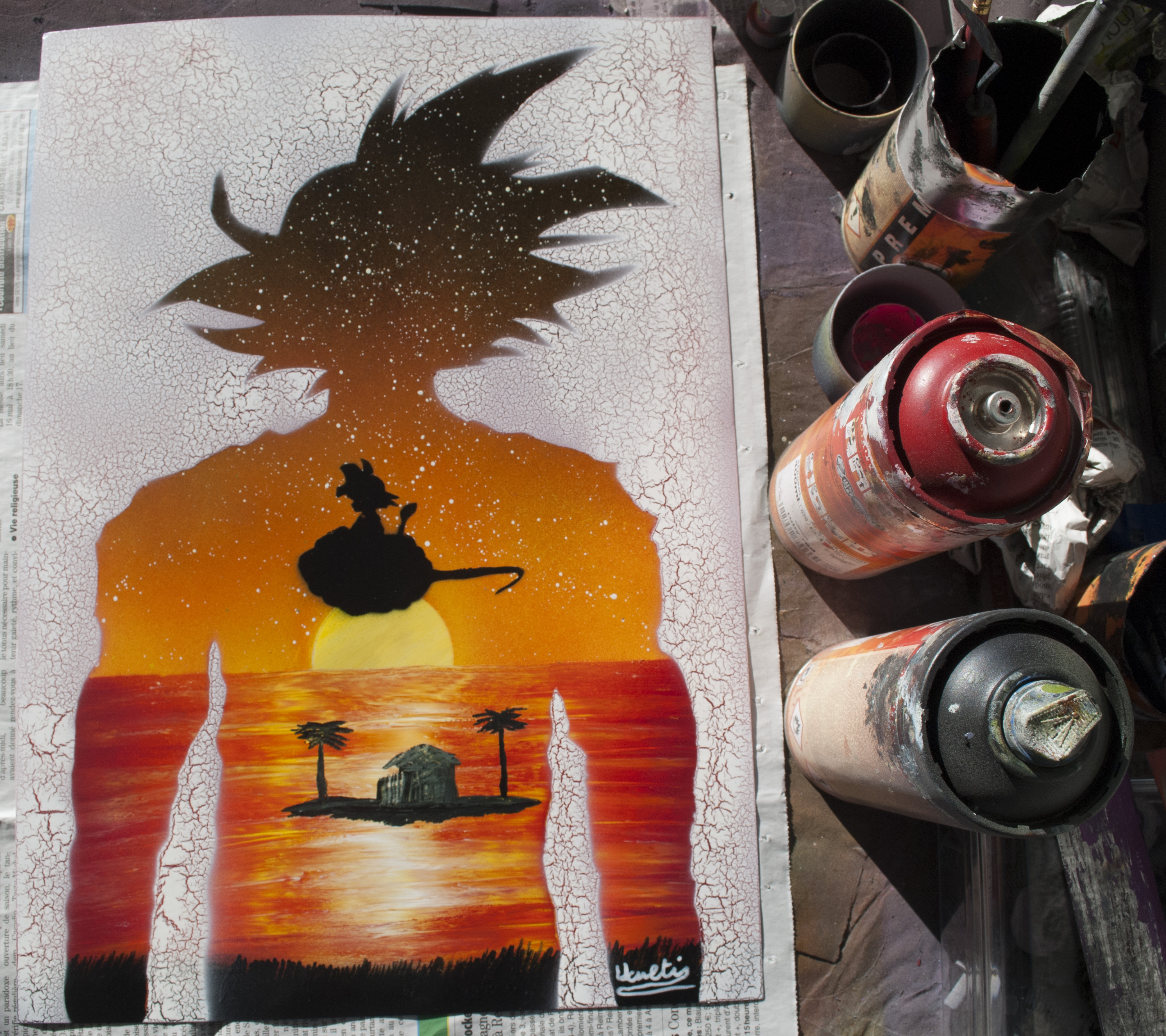 DragonBall spray paint art by Ucuetis