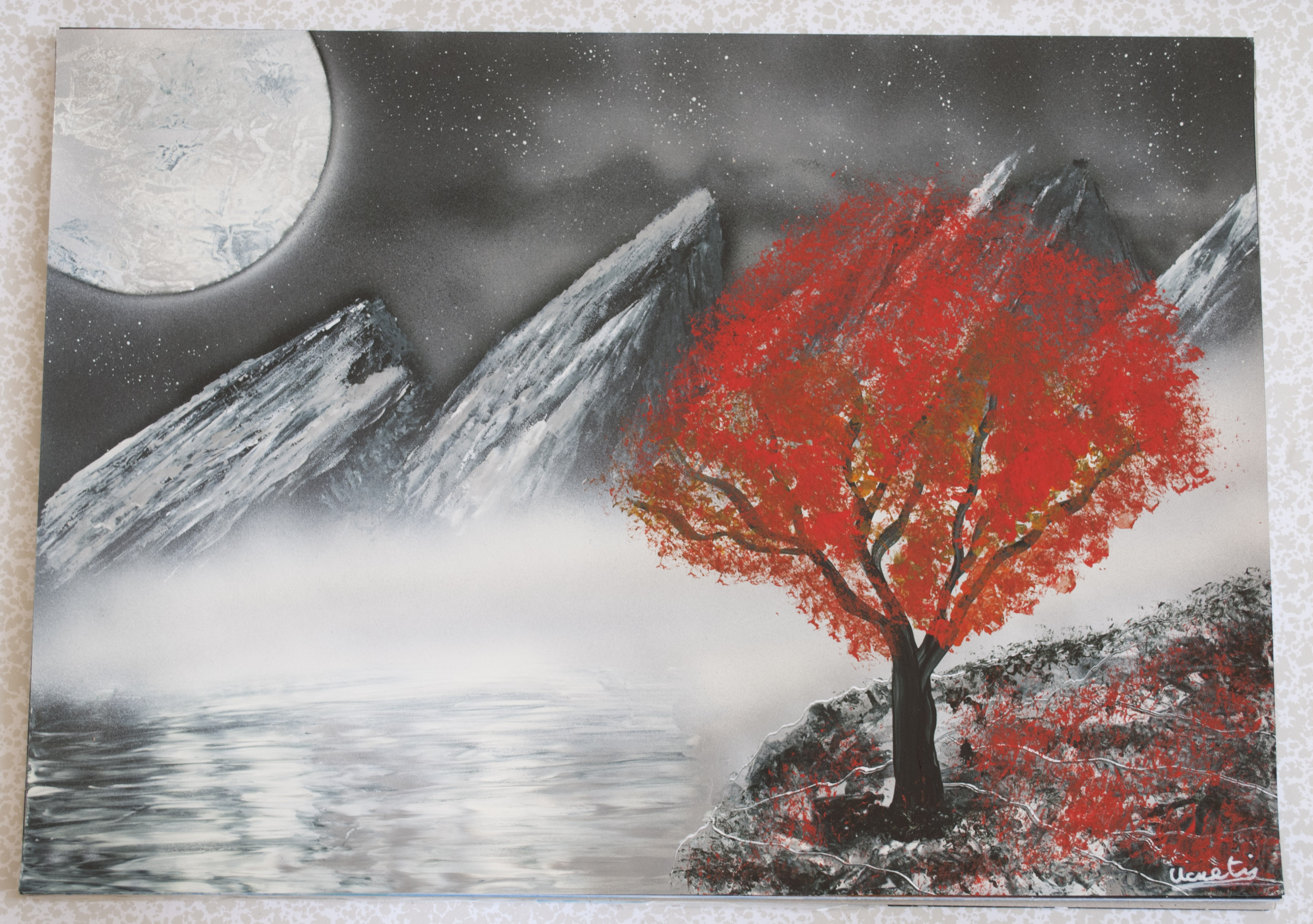 Arbre rouge spray paint art by Ucuetis