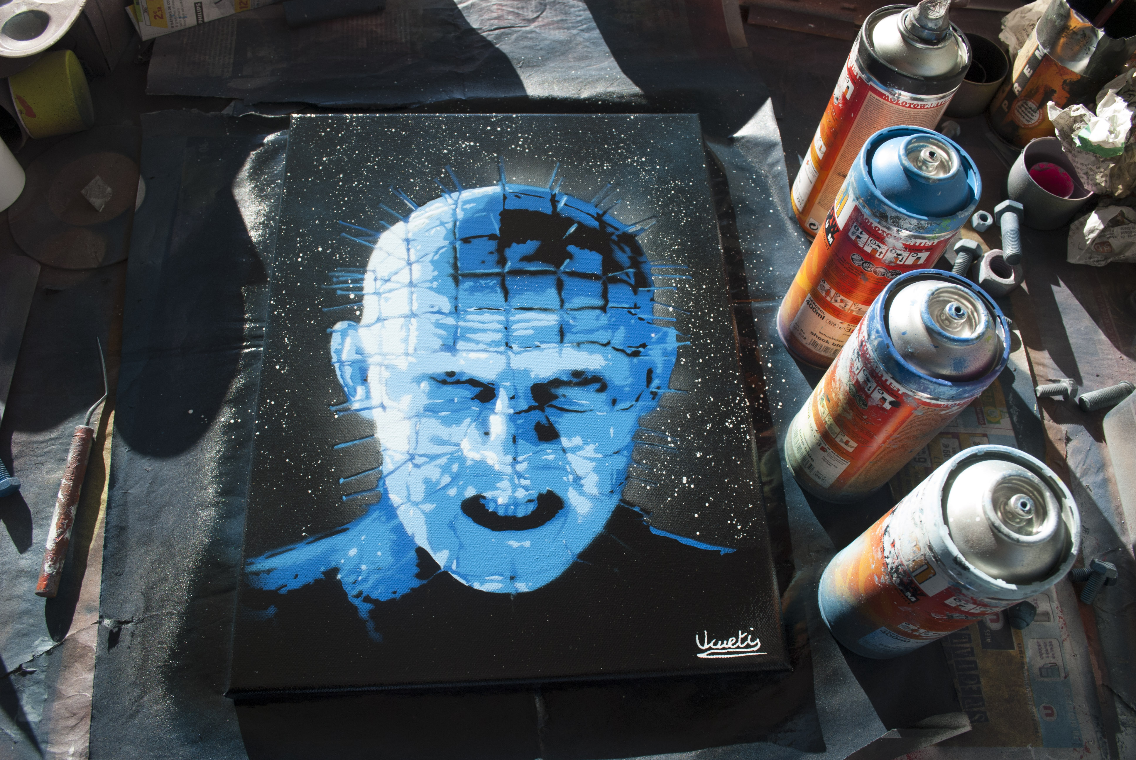 Hellraiser spray paint art by Ucuetis