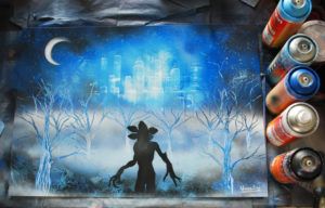Stranger things spray paint art