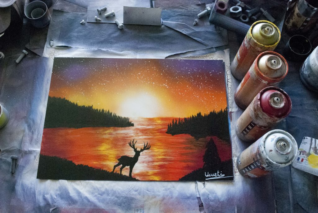 Deer spray paint art by Ucuetis