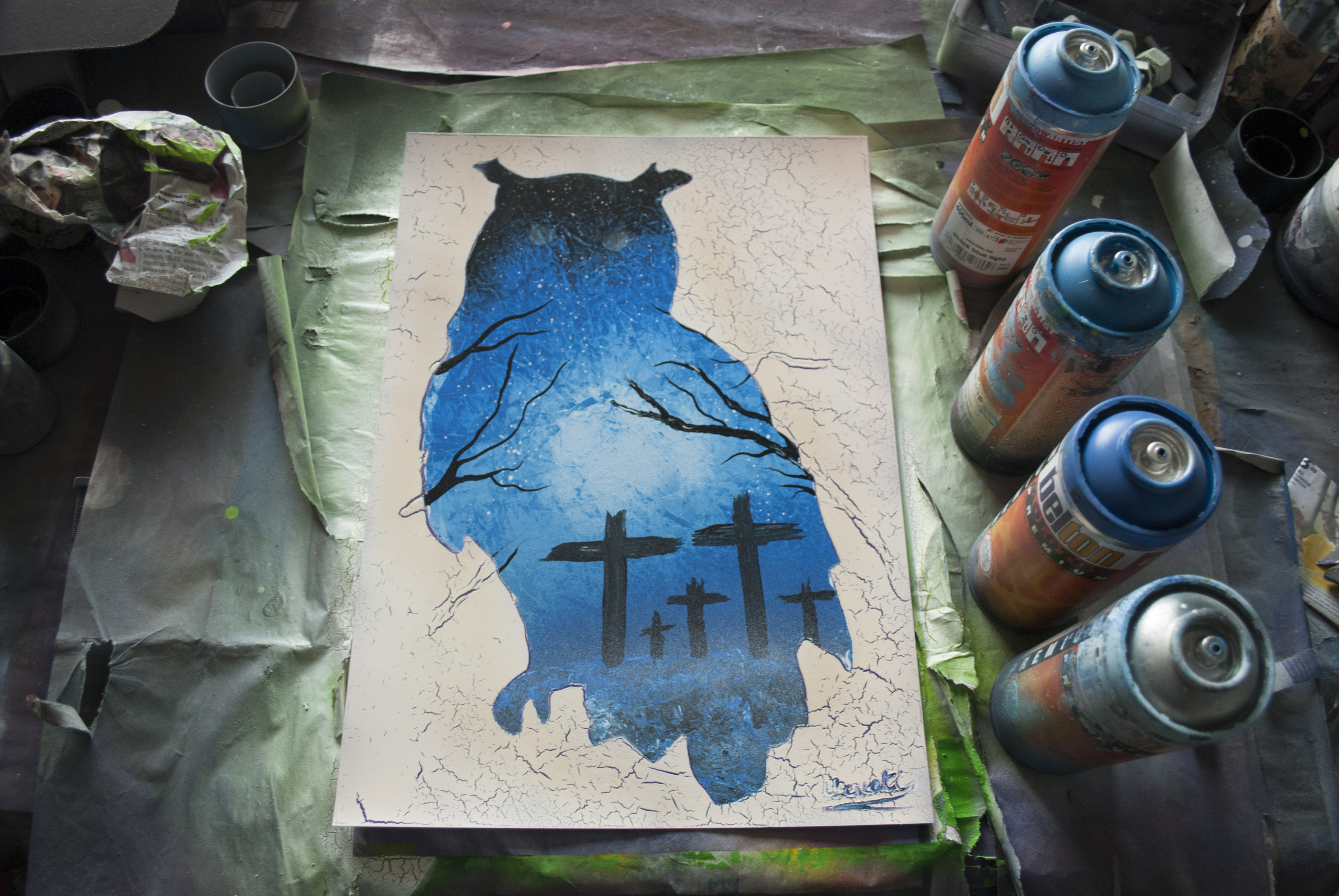 Threatening Owl spray paint art By Ucuetis