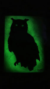 Threatening Owl (glows in the dark) spray paint art By Ucuetis