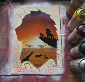 Le roi lion spray paint art by Ucuetis