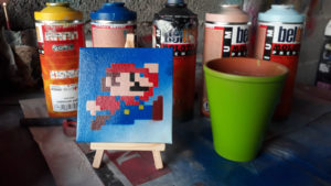 8 Bit Mario Spray paint art by Ucuetis