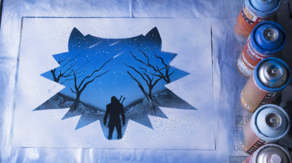 The Witcher – Glow in the dark – Spray paint art by Ucuetis
