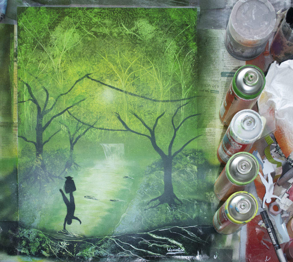Yoda, Luke, Dagobah, Star wars - Spray paint art by Ucuetis