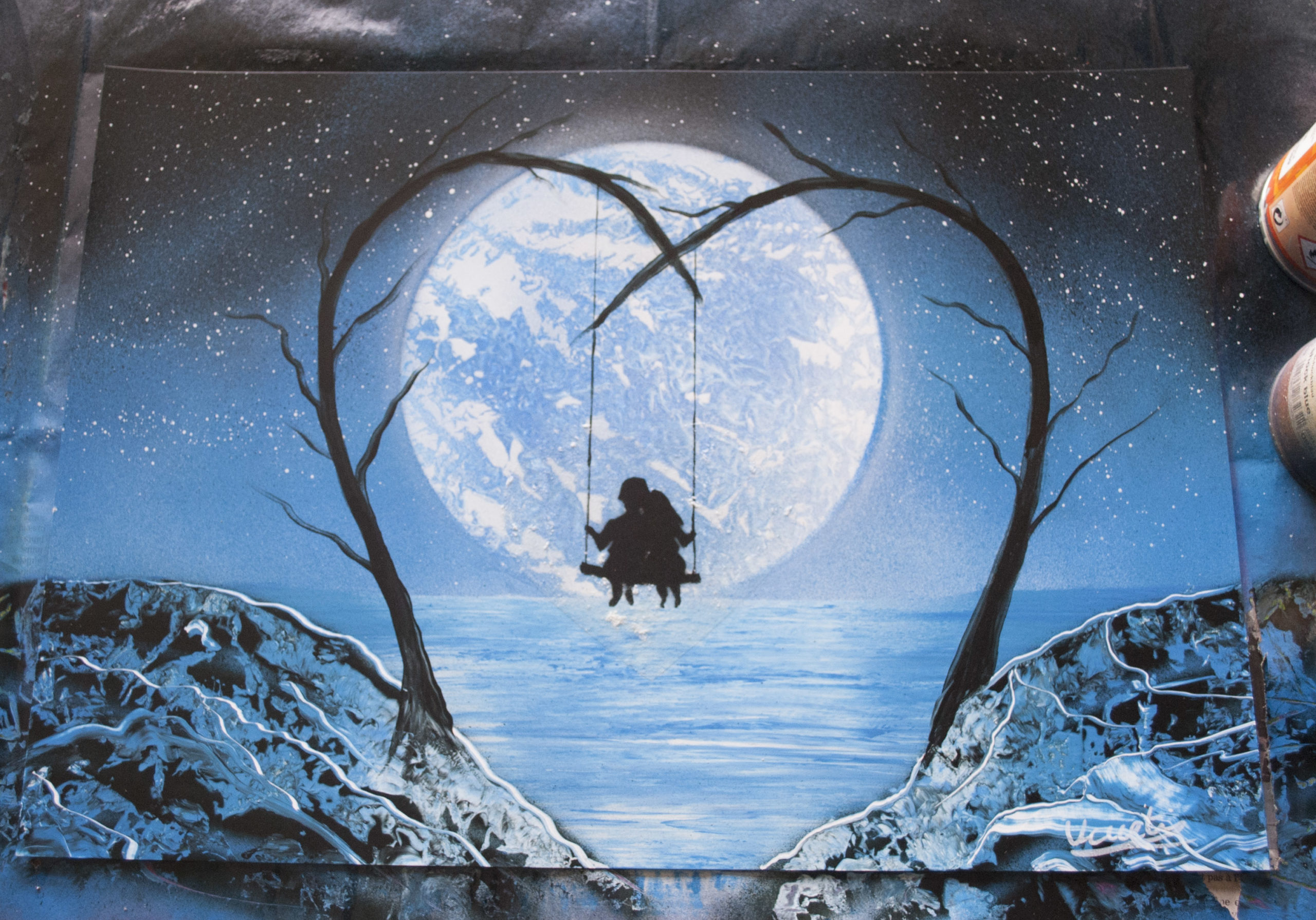 Couple, heart, valentine -Spray paint art- by Ucuetis